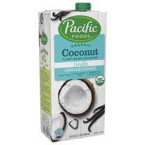 Pacific Foods Organic Coconut Non-Dairy Beverage, Unsweetened Vanilla, 32-Ounce, (Pack of 12) Keto Friendly