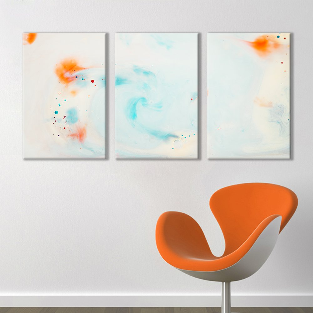 """wall26 - 3 Panel Canvas Wall Art - Inked Goldfish Watercolor Dots Decor - Giclee Print Gallery Wrap Modern Home Decor Ready to Hang - 16""""x24"""" x 3 Panels"""