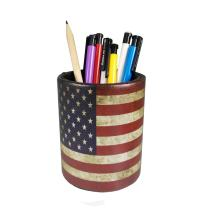 Vintage Pen Pencil Holder Cup - DreamsEden Retro Pattern Desk Organizer for Home Office Bedroom (American flag Round)