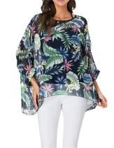 iNewbetter Womens Floral Print Batwing Sleeve Chiffon Poncho Blouse Summer Tunic Tops PB
