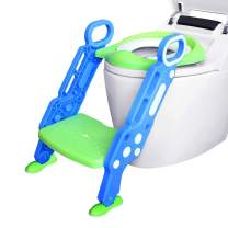 Ganowo Potty Training Toilet Seat with Step Stool Ladder, Adjustable Baby Trainer Chair for Toddlers Kids Boys Girls