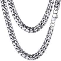 PROSTEEL Stainless Steel Cuban Chain Necklace, Silver/Gold/Black Tone, Nickel-Free, Hypoallergenic Necklace, W: 4.8mm-14mm, L: 14inch-30inch, Come Gift Box