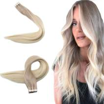 Easyouth Remy Tape on Extensions Real Human Hair for Women Ash Blonde Fading to Platinum Blonde 18inches 40g/Pack 20pcs Tape in Human Hair Glue in Hair