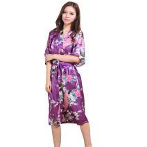 Women's Long Satin Kimono Robe Japanese Kimono Night Sleepwear Bathrobe