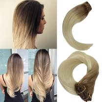 120g Real Hair Extensions Ombre Clip in Human Hair #12 Light Brown Fading to #60 Platinum Blonde Thick Double Weft Brazilian Hair 7pcs Full Head Silky Straight 12T60(40cm 45cm 50cm 55cm)16inch