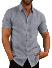 APRAW Mens Linen Button Down Shirts Long/Short Sleeves Summer Beach Casual Regular Fit Shirt Tops
