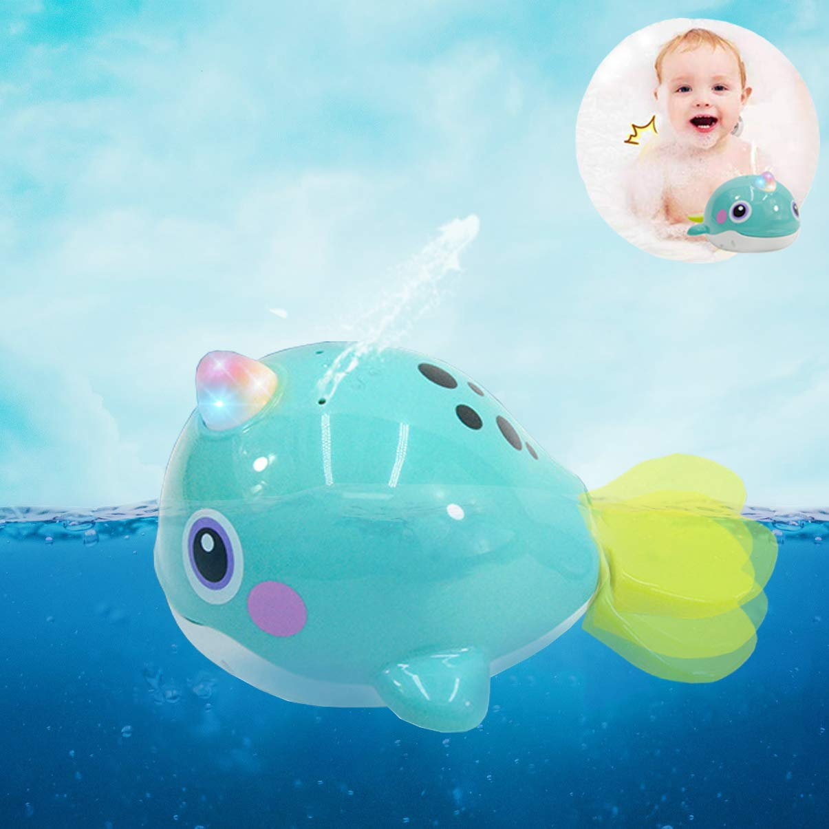Sytle-Carry Water Squirt Baby Bath Toy - Water Spray Sprinkler Waterproof Bathub Spouting Pool Toys W/ LED Light Bathtime Shower Gift for 12 18 Months 1 2 Years Toddler Infant Boys Girls Kids (8101)