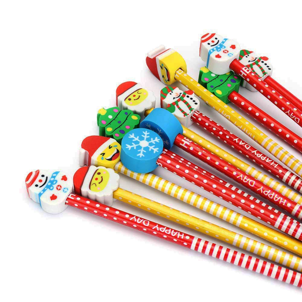 Cartoon Pencil With Eraser Colorful Novelty Christmas present Assorted Colorful Kids Pencils 12 Pack By BUSHIBU