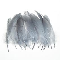AWAYTR 100 Pcs Nature Goose Feathers for DIY Craft Wedding Home Party Decorations (Gray)