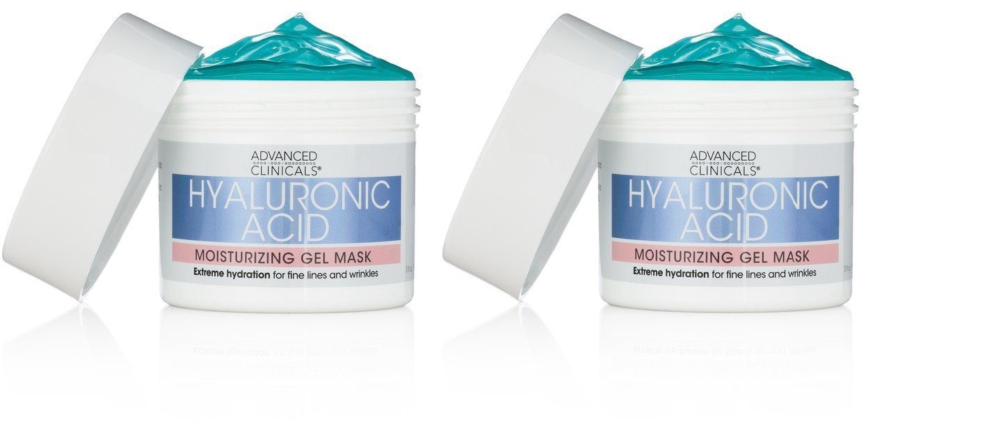 Advanced Clinicals Hyaluronic Acid Moisturizing Gel Mask with soothing chamomile. Extreme hydration for fine lines and wrinkles. (Two - 5oz)