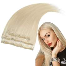 RUNATURE Double Weft Clip in Human Hair Extensions 14 Inches Color 60 Plaitnum Blonde 3 Pieces 50g Real Human Hair Extensions for Women