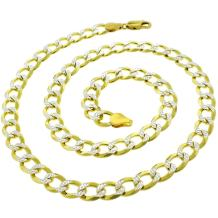 925 Italian Sterling Silver 2.5mm - 10.5mm Solid Cuban Diamond Cut Chain, FREE Microfiber Cloth, ITProLux Yellow Gold Plated Pave Curb Link Necklace, Giorgio Bergamo
