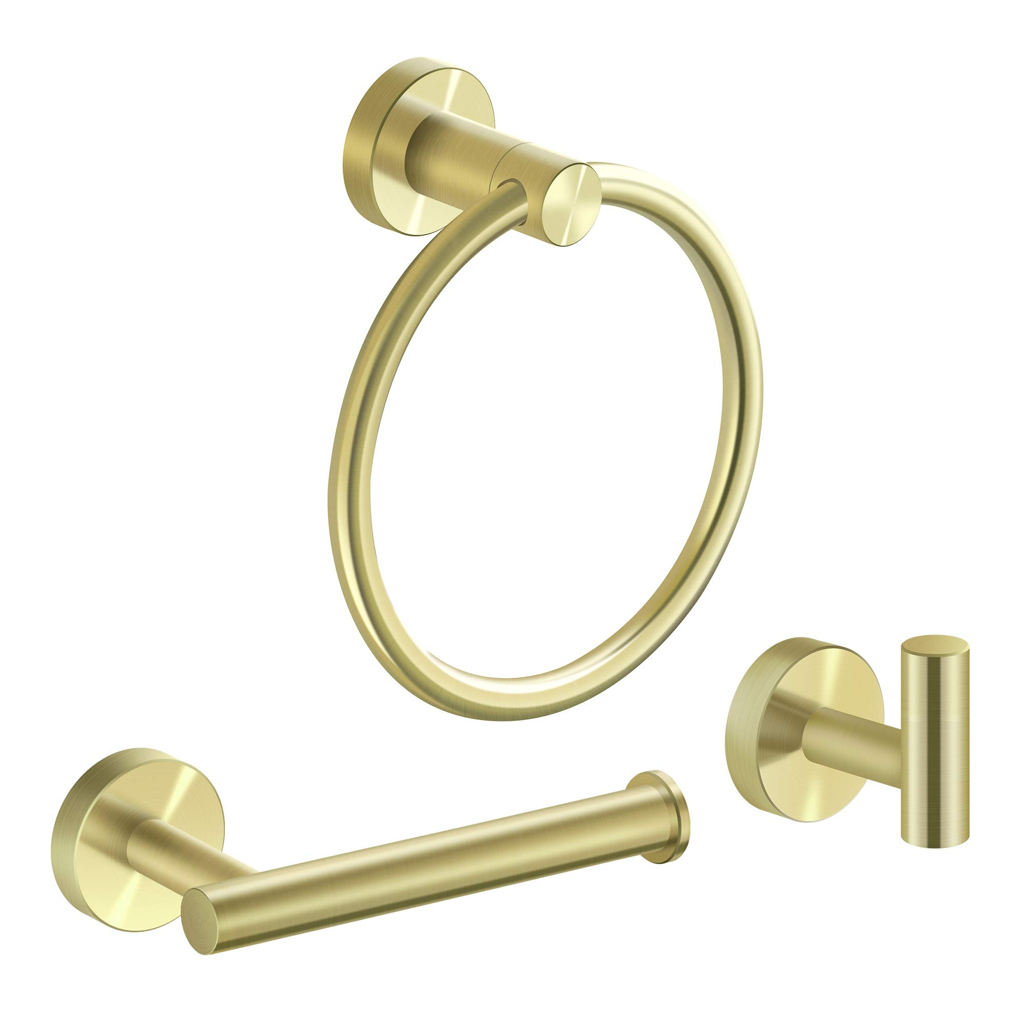 MARMOLUX ACC 3-Pieces Bathroom Hardware Set-Hand Towel Ring, Toilet Paper Roll Holder, Towel Hooks Heavy Duty SUS 304 Stainless Steel Wall Mount Bathroom Accessories 9110G Brushed Gold