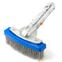 """Aquatix Pro Heavy Duty Pool Brush, Durable 5"""" Swimming Pool Cleaner Brush Best for Tackling Stubborn Stains, Aluminium Handle & Stainless Steel Bristles, Suitable for Concrete & Gunite Pools."""