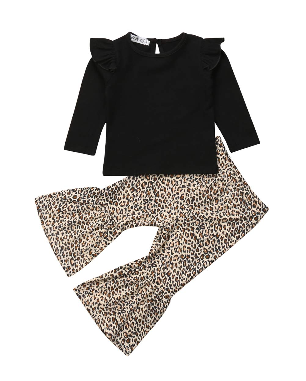 VISGOGO Toddler Baby Kid Girl Outfit Long Sleeve T-Shirt Top+Leopard Flared Pants Clothes Set