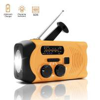 USFY Emergency Weather Radio, Hand Crank Solar Radio, Portable SOS Alarm LED Flashlight AM FM NOAA for Household and Outdoor Survival Orange