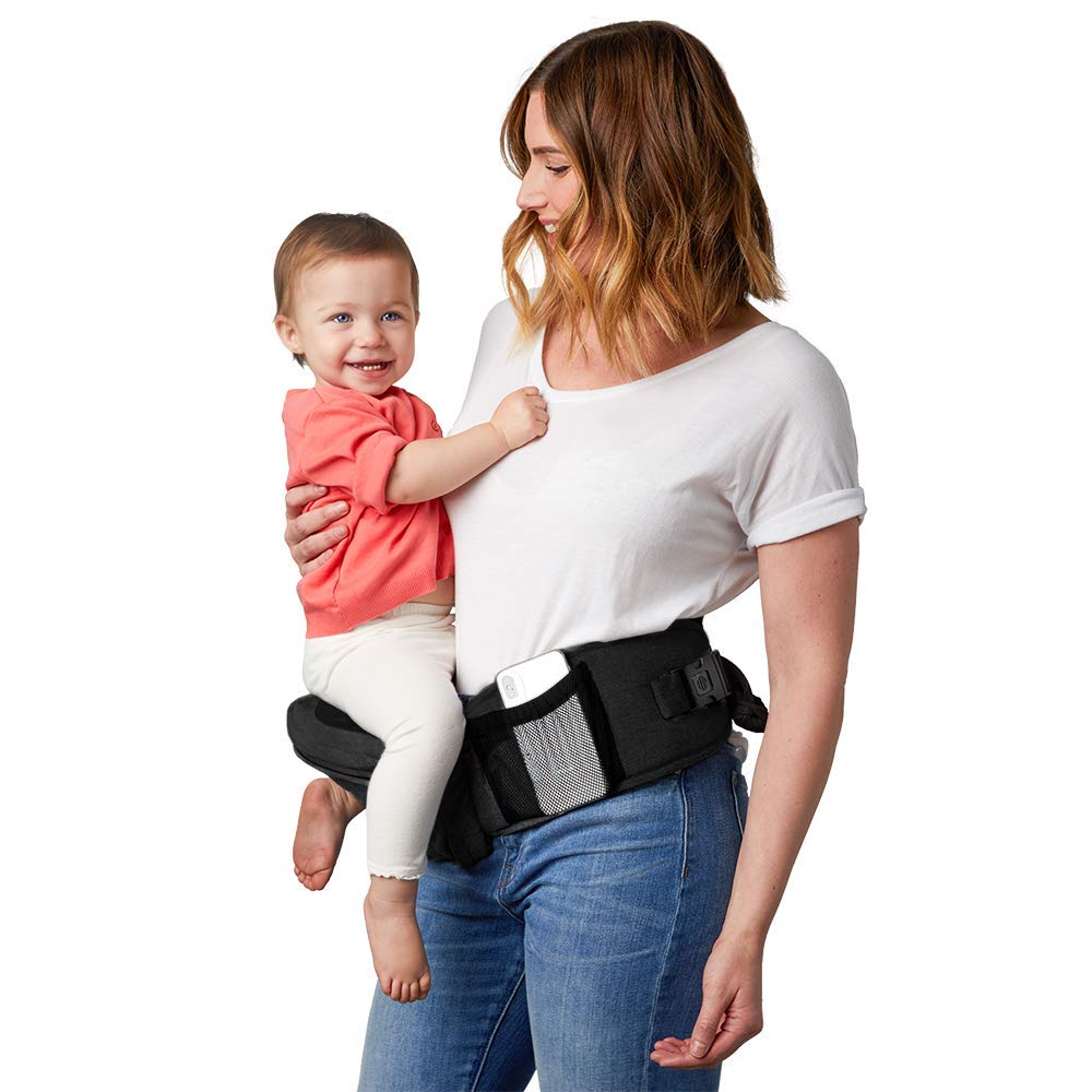 TushBaby The Only Safety Certified Hip Seat Baby Carrier - As Seen On Shark Tank, Ergonomic Waist Carrier for Newborns, Toddlers & Children, Black and Gold