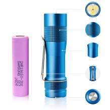 LUMINTOP Rechargeable Tactical LED Flashlight High Power Small Torch 3 CREE LED 2800lms, IP68 Water-proof, Tac Light Lantern with 18650 Battery Cold White, Royalblue FW3A