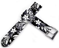 Leather Watch Straps Bands 22mm Quick Release - Compatible with Samsung Galaxy Watch3 46/45mm Gear S3 Classic/Frontier/Galaxy Watch 46mm Small Large Black Floral Flower Art