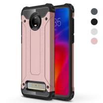 Moto Z4 Play Case, Moto Z4 Case,Dust/Fingerprint Proof Slim Lightweight Design Shock-Absorption Dual Layer Protective Cover + Touch Pen (Rose Gold)