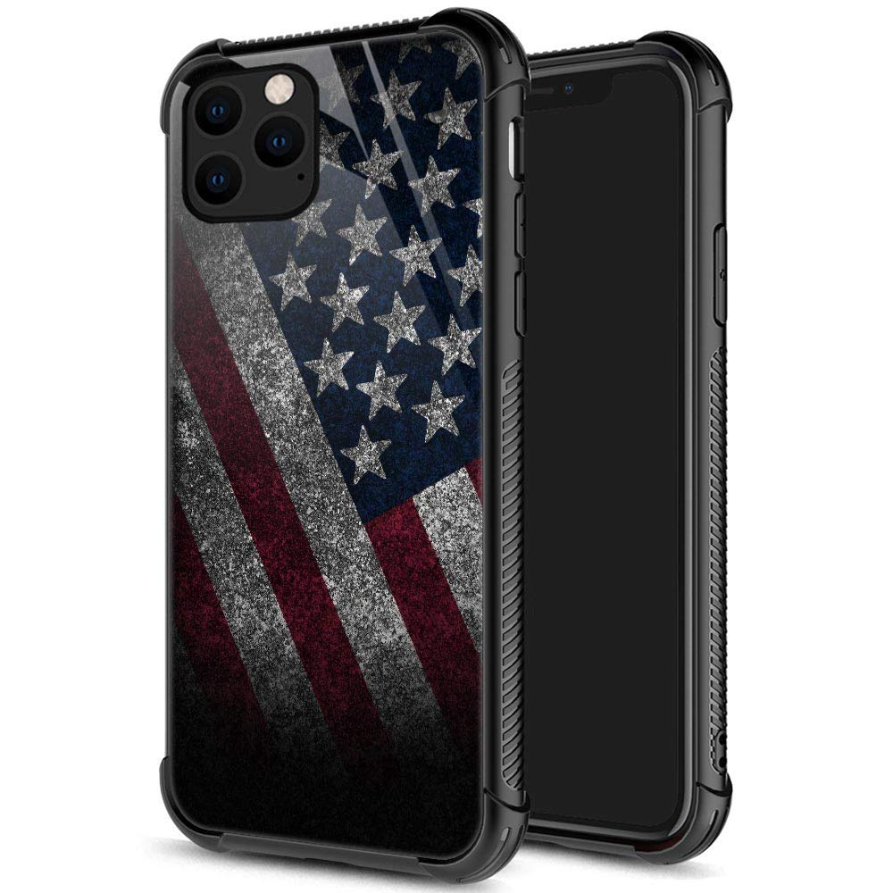 iPhone 11 Case,9H Tempered Glass iPhone 11 Cases Funny Stone American Flag for Men Boys, Pattern Design Shockproof Anti-Scratch Case for Apple iPhone 11 Stone Flag