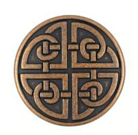 Bezelry 10 Pieces Celtic Shield Knot Metal Shank Buttons. 25mm (1 inch) (Antique Copper)