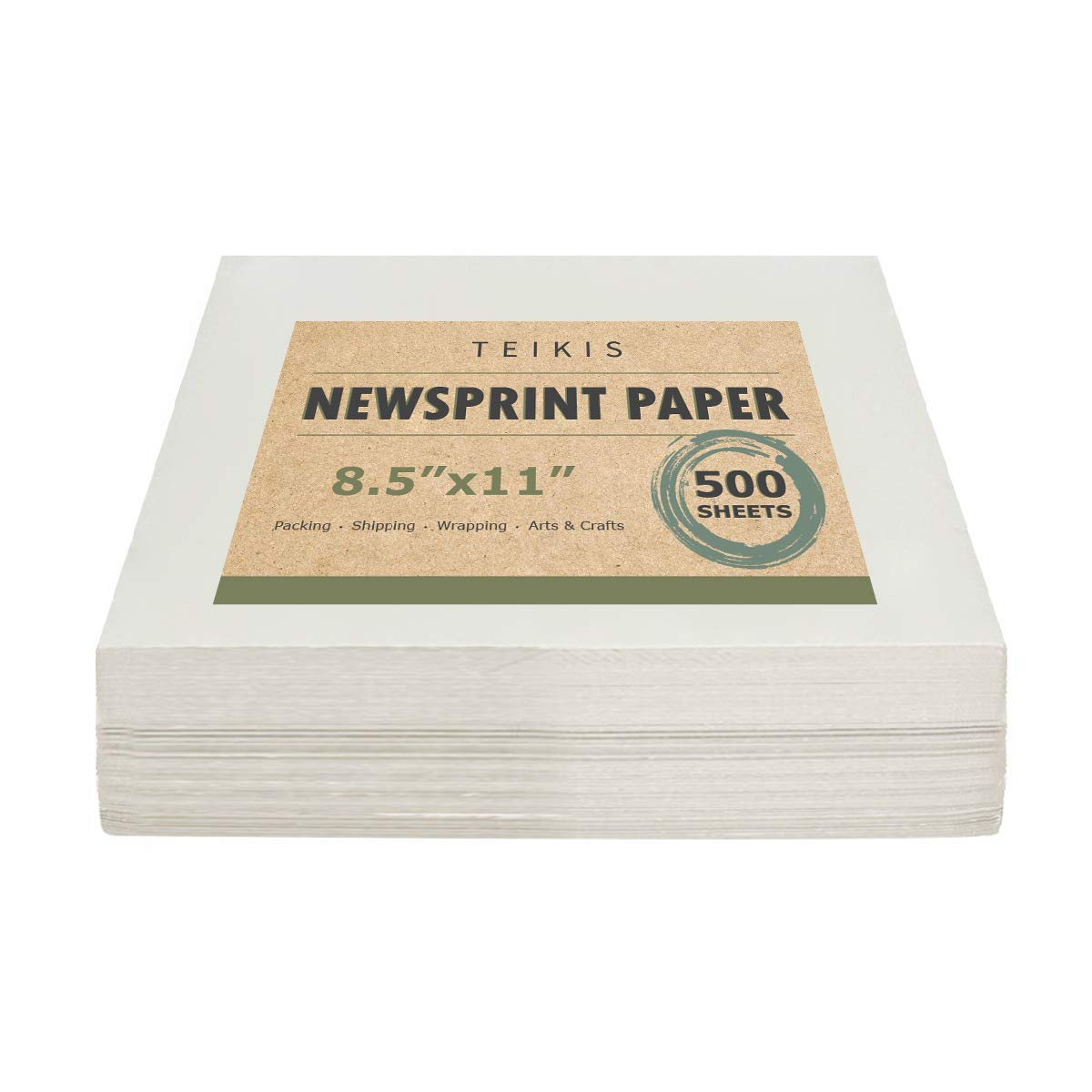 TeiKis Clean Newsprint Packing Drawing Sketch Paper Unprinted - 500 Sheets, 8.5 x 11 inch