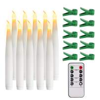 Youngerbaby Set of 10 Yellow Mini Battery Operated LED Taper Candles, Flameless Taper Candles for Wedding Decorations,Christmas -Batteries Not Included (10 Pack-5.6 INCH Taper Candles-Remote)