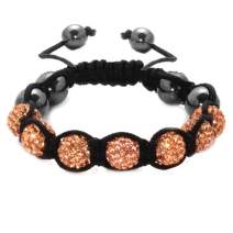 BodyJ4You Disco Balls Bracelet 6 Peach Beads Pave Crystals Adjustable Wrist Iced Out Jewelry
