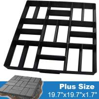 "CJGQ Plus Size 19.7""x19.7""x1.7"" Concrete Molds Walk Maker Reusable Path Brickform Stepping Stone Paver Lawn Patio Yard Garden DIY Walkway Pavement Moulds (18 Bricks)"