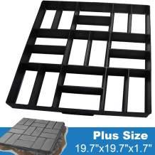 "CJGQ Plus Size 19.7""x19.7""x1.7"" Concrete Molds Walk Maker Reusable Path Brickform Stepping Stone Paver Lawn Patio Yard Garden DIY Walkway Pavement Moulds (18 Bricks)"