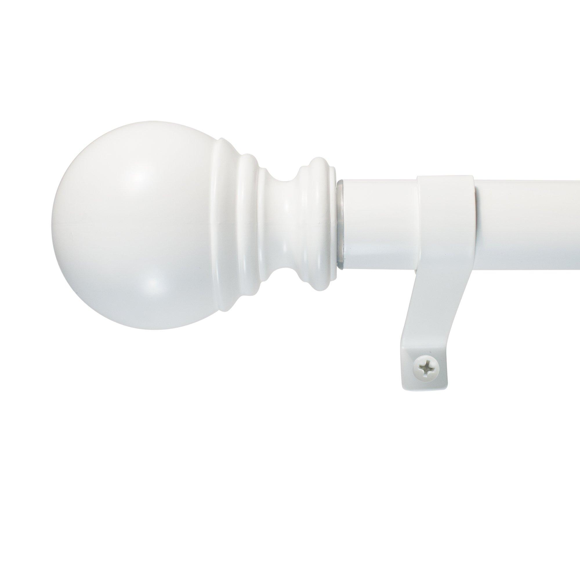 Decopolitan Ball Single Telescoping Drapery Rod Set, Short, White
