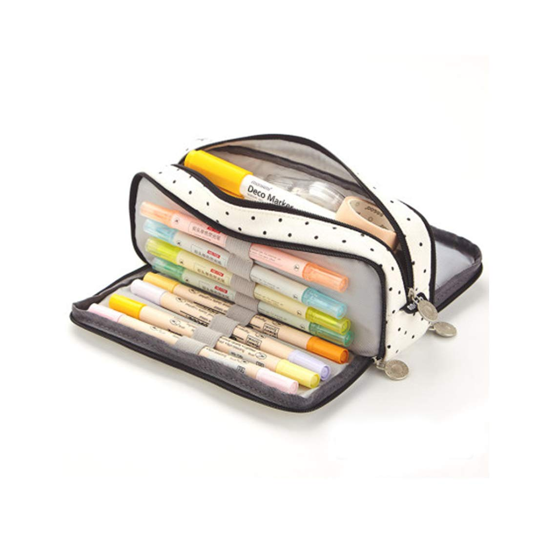 Oyachic Triple Zipper Pen Case Multi Compartments Pencil Case 3 Zippers Pen Bag Pouch Holder Square Grid Cosmetic Bags Organizer Stationery Box (Black Plaid)