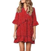 Exlura Women's Ruffle Polka Dot V Neck Bell Sleeve Dress Casual Loose Swing T-Shirt Dress Red