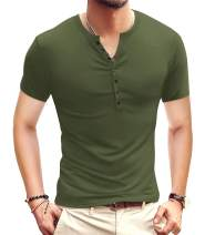 YTD Mens Casual Slim Fit Basic Henley Short/Long Sleeve Fashion T-Shirt