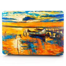 """HRH Twilight Oil Painting Pattern Design Laptop Body Shell Protective Rubberized Hard Case for MacBook Air 13.3"""" (A1466 / A1369),Not Compatible 2018 Version A1932"""