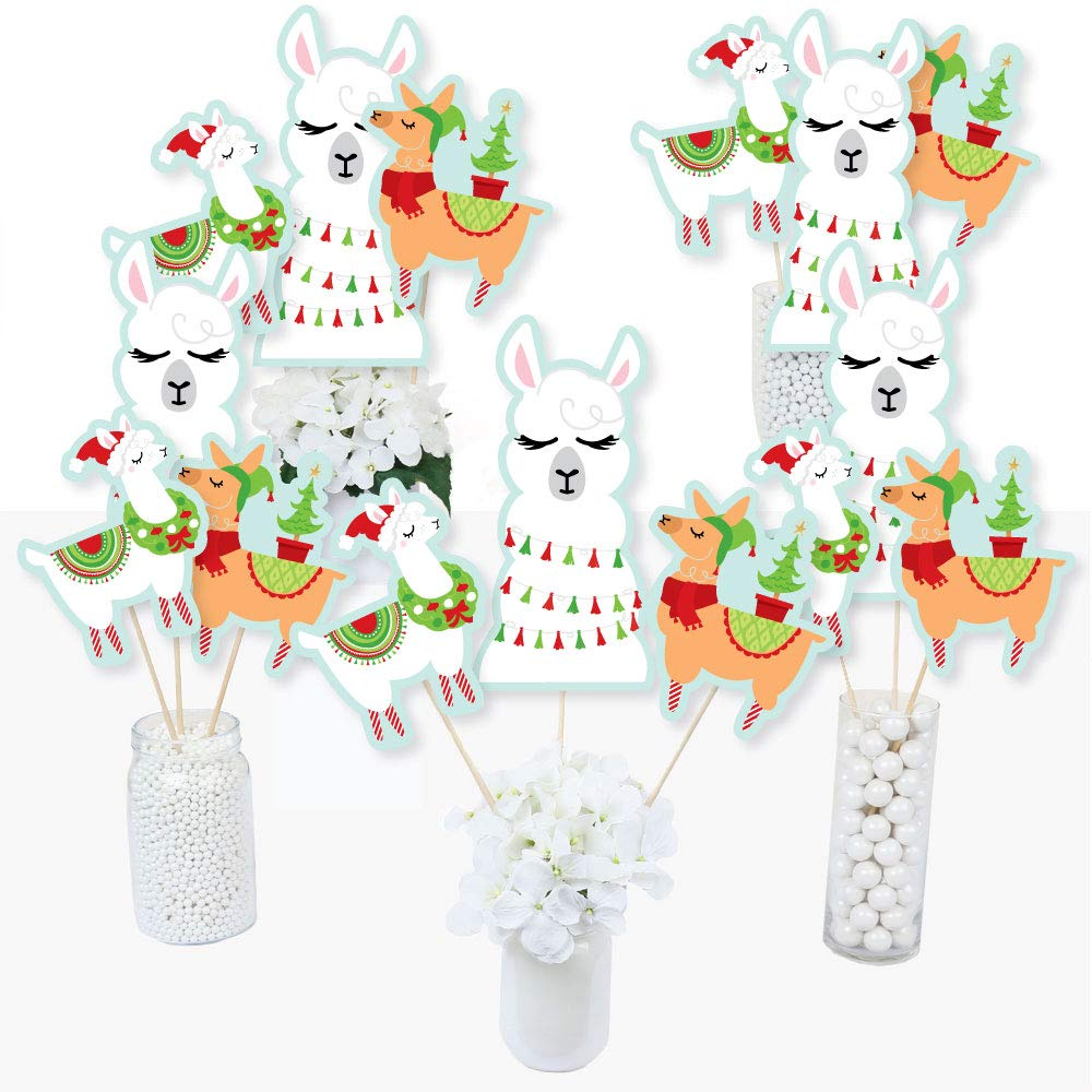 Big Dot of Happiness Fa La Llama - Christmas and Holiday Party Centerpiece Sticks - Table Toppers - Set of 15