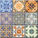 Mi Alma Backsplash Tile Stickers 24 PC Set Authentic Traditional Talavera Tiles Stickers Bathroom & Kitchen Tile Decals Easy to Apply Just Peel and Stick Home Decor 4x4 Inch (Portuguese Pattern HA3)