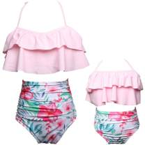 2Pcs Mommy and Me Matching Family Swimsuit Ruffle Women Swimwear Kids Children Toddler Bikini Bathing Suit Beachwear Sets