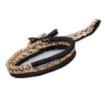 XIA YAN 3Pcs Handmade Rope Bracelets for Women Men Lucky Strand Bracelet Set Waterproof Wax Coated Braided Rope Bracelet for Girls Gift - Adjustable