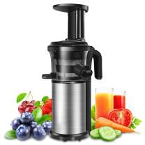 Slow Juicer, Sagnart Juicer Machine for Vegetables and Fruits, Portable Vertical Cold Press Juicer with Reversal Function, BPA-free Masticating Juicer with Juice Jug and Clean Brush