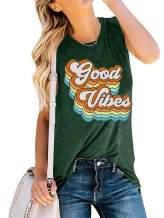 Gnpolo Womens Good Vibes Tank Tops Funny Rainbow Graphic Blouse Round Neck Sleeveless T Shirts