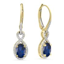 Dazzlingrock Collection 14K 7X5 MM Each Gemstone Ladies Infinity Dangling Earrings, Yellow Gold