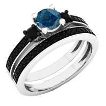 Dazzlingrock Collection 5 MM Round Gemstone & Black Diamond Bridal 3 Stone Engagement Ring Set, Sterling Silver