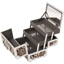 JustCase M1001 Cosmetic Makeup Train Case with Mirror and Easy Clean Extendable Trays, Leopard