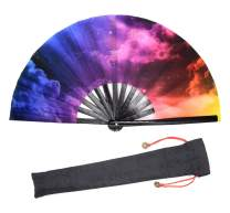 Leehome Large Rave Folding Hand Fan for Women/Men,Chinese/Japanese with Bamboo and Nylon-Cloth Handheld Fan,for Performance,Decorations, Dance,Festival Party,Gift (Starry Sky03)