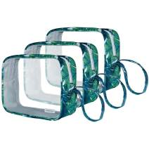 Clear Travel Toiletry Bag for Women Men, Anrui Tsa Approved Transparent Makeup Cosmetic Bag, Quart Size Travel Toiletry Bag Carry on Airport Airline Bags, 3 Pack Green leaf