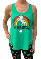 WomenÕs St. Patrick's Day Magical Rainbow Unicorn Green Tank Top - Small