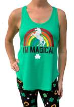 WomenÕs St. Patrick's Day Magical Rainbow Unicorn Green Tank Top - Small