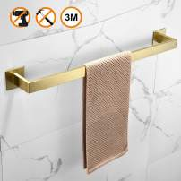 Leyden Self Adhesive Square Towel Bar,Brushed Gold Finish Stainless Steel Towel Rack,Waterproof and Rustproof for Kitchen Bathrooms Towel Holder